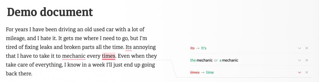 Пример работы Grammarly