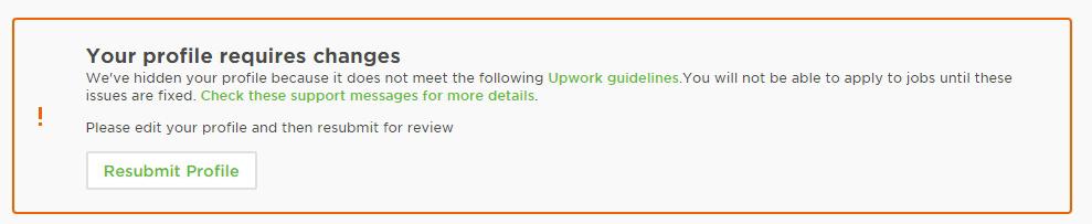 Отправка профиля на проверку на Upwork